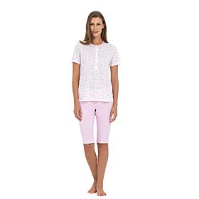 Linclalor Γυναικεία Πιτζάμα Βαμβακερή 74183 Λευκό- Ρόζ