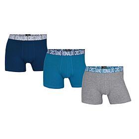 CR7 Mens Boxer Trunk 3-pack Organic Cotton Stretch Μπλέ-Γκρί-Μπλέ Ράφ