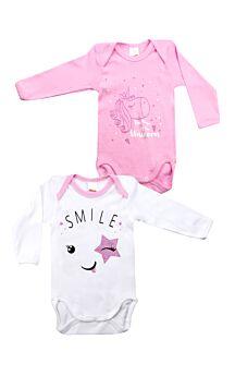 Minerva Βρεφικά Κορμάκια Για Κοριτσι Smile 2τεμ Λευκό-Ρόζ
