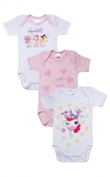 Minerva Βρεφικά Κορμάκια Για Κορίτσι Unicorn Love 3τεμ Λευκό-Ροζ-Λευκό
