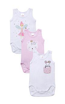 Minerva Βρεφικά Κορμάκια Κορίτσι Super Cute 3τεμ Λευκό-Ρόζ-Λευκό