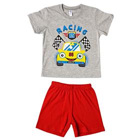 Dreams Βρεφική Πιτζάμα Αγόρι Racing Γκρί Μελανζέ-Κόκκινο