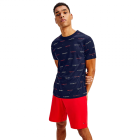 Tommy Hilfiger All Over Embroidery T-Shirt Μπλέ