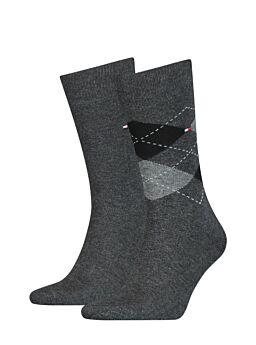 Tommy Hilfiger Ανδρική Κάλτσα Σετ 2 Ζευγαριών Ανθρακί