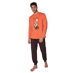 Admas Ανδρική Πιτζάμα Disney Goofy Πορτοκαλί-Καφέ