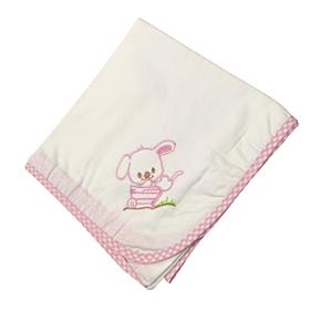 Be be Bunny Βρεφική Πάνα Bear Λευκό-Ροζ 90*90
