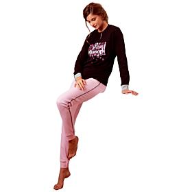 Cotonella Γυναικεία Πιτζάμα New Chances Μαύρο-Ροζ