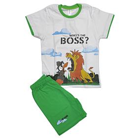 Dreams Βρεφική Πιτζάμα Αγόρι Boss Λευκό-Λαχανί