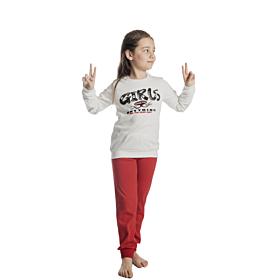 Dreams Παιδική Πιτζάμα Κορίτσι Μπαλαρίνες Εκρού-Κόκκινο