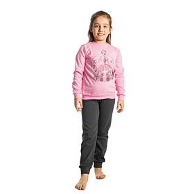 Dreams Παιδική Πιτζάμα Κορίτσι Clock Ροζ-Ανθρακί