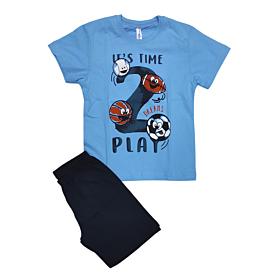 Dreams Βρεφική Πιτζάμα Αγόρι Play Time Γαλάζιο-Μπλε Μαρίν