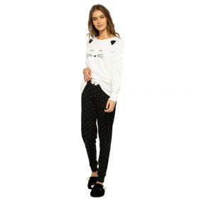 Noidinotte Γυναικεία Βαμβακερή Πιτζάμα Cat Λευκό-Μαύρο Πουά