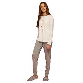 Noidinotte Γυναικεία Βαμβακερή Πιτζάμα Plus Size Dots Λευκό-Γκρι Μελανζέ