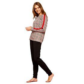 Noidinotte Γυναικεία Βαμβακερή Πιτζάμα Piex De Poule Κόκκινο-Μαύρο-Λευκό