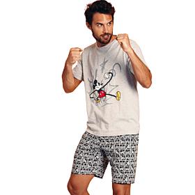 Admas Ανδρική Πιτζάμα Mickey Punch Disney Γκρί-Μελανζε
