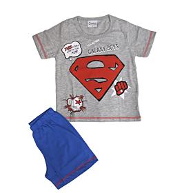 Galaxy Παιδική Πιτζάμα Αγόρι Superman Γκρι Μελανζέ-Μπλε Ρουά