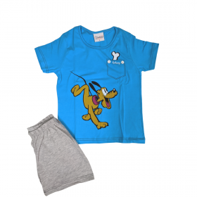 Galaxy Παιδική Πιτζάμα Αγόρι Pluto Μπλε-Γκρι Μελανζέ