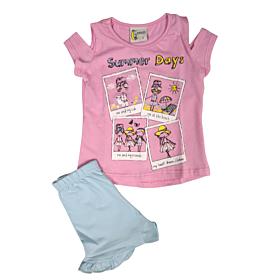 Galaxy Παιδική Πιτζάμα Κορίτσι Ροζ-Γαλάζιο