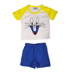 Galaxy Βρεφική Πιτζάμα Αγόρι Bugs Bunny Λευκό-Μπλε Ρουά