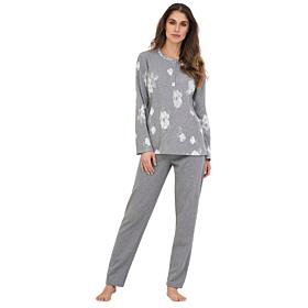 Linclalor Γυναικεία Πιτζάμα Fleece 77630 Floral-Γκρι Μελανζέ
