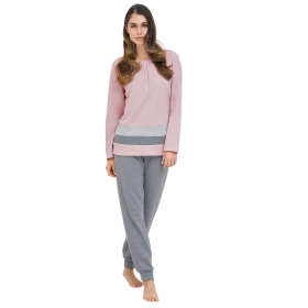 Linclalor Γυναικεία Πιτζάμα Fleece 77638 Ροζ-Γκρι Μελανζέ