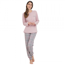 Linclalor Γυναικεία Πιτζάμα Fleece 77640 Ροζ-Γκρι Μελανζέ Καρό