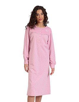 Lydia Γυναικείo Νυχτικό Βαμβακερό Εμπριμέ Ροζ