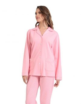 Lydia Γυναικεία Πιτζάμα Βαμβακερή Ροζ-Πουά
