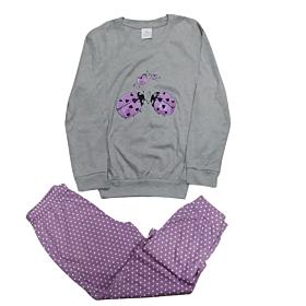 Lydia Creations Παιδική Πιτζάμα Κορίτσι Love Bug Γκρι Μελανζέ-Πουά Λιλά