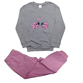 Lydia Creations Παιδική Πιτζάμα Κορίτσι Love Bug Γκρι Μελανζέ-Ροζ Πουά