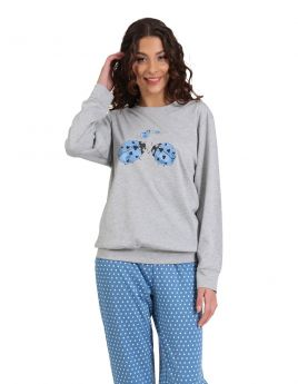 Lydia Γυναικεία Πιτζάμα Βαμβακερή Love Bug Γκρι Μελανζέ-Μπλε Πουά