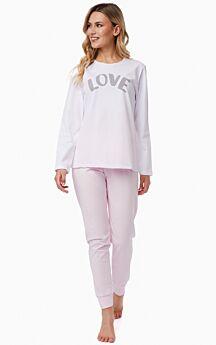Minerva Γυναικεία Πιτζάμα Βαμβακερή Love Λευκό-Ροζ