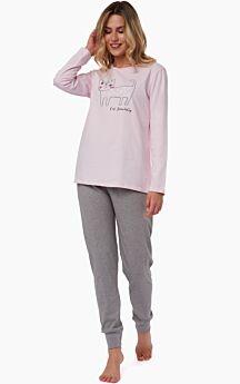 Minerva Γυναικεία Πιτζάμα Βαμβακερή Cat Ροζ-Γκρι Μελανζέ