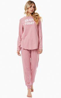 Minerva Γυναικεία Πιτζάμα Βαμβακερή/Modal Enjoy Today Ροζ