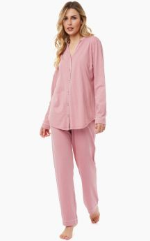 Minerva Γυναικεία Πιτζάμα Βαμβακερή/Modal Dots Ροζ