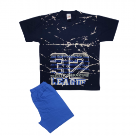 Minerva Παιδική Πιτζάμα Αγόρι League 32 Μπλε Μαρίν-Γαλάζιο