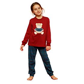 Noidinotte Παιδική Πιτζάμα Βαμβακερή Unisex Bear Μπορντό-Πράσινο Καρό