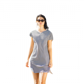 Noidinotte Γυναικείο Φόρεμα Ρίγα Λευκό-Μαύρο