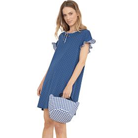 Noidinotte Γυναικείο Νυχτικό La 2396Plus Size Μπλε