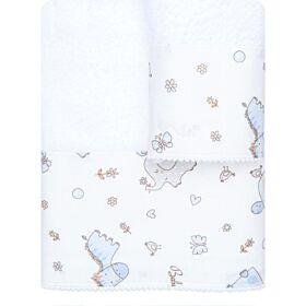 Borea Βρεφικές Πετσέτες Baby Love Σετ 2 τμχ Λευκό-Σιέλ