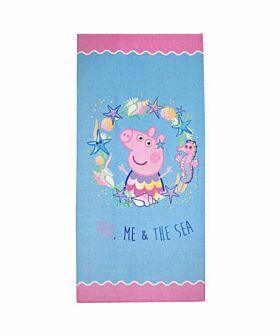 Stamion Πετσέτα Θαλάσσης Peppa Pig Στη Θάλασσα 70*140cm Γαλάζιο-Ροζ
