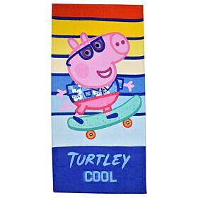 Stamion Πετσέτα Θαλάσσης Peppa Pig Turtley Cool 70*140cm Μπλε-Ριγέ
