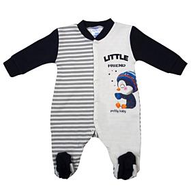 Pretty Baby Βρεφικό Φορμάκι Αγόρι Little Friend Εκρού-Μπλε Μαρίν