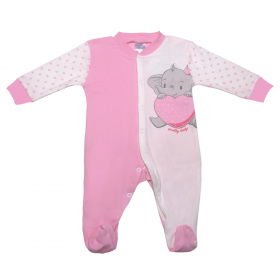 Pretty Baby Βρεφικό Φορμάκι Κορίτσι Ελέφαντας Εκρού-Ροζ