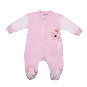 Pretty Baby Βρεφικό Φορμάκι Κορίτσι Unicorn Ροζ-Εκρού