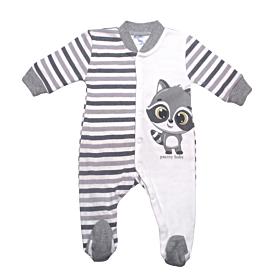 Pretty Baby Βρεφικό Φορμάκι Αγόρι Αλεπουδάκι Εκρού-Ανθρακί