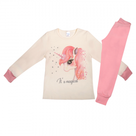 Pretty Baby Παιδική Πιτζάμα Κορίτσι Magical Νο 6-10 Εκρού-Ροζ