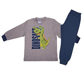 Pretty Baby Βρεφική Πιτζάμα Αγόρι Dinosaur Γκρι Μελανζέ-Μπλε Ραφ