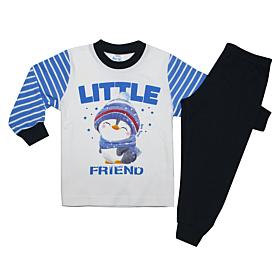 Pretty Baby Βρεφική Πιτζάμα Αγόρι Πιγκουίνος Εκρού-Μπλε Μαρίν