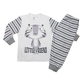 Pretty Baby Βρεφική Πιτζάμα Αγόρι Little Friend Εκρού-Ανθρακί